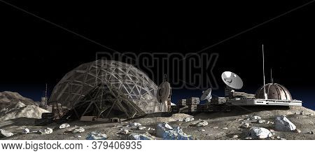 3d Illustration Of A Moon Outpost Colony With A Geodesic Dome Housing A Vertical Garden Pyramid, For