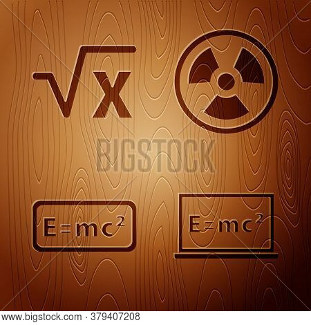 Set Equation Solution, Square Root Of X Glyph, Equation Solution And Radioactive On Wooden Backgroun