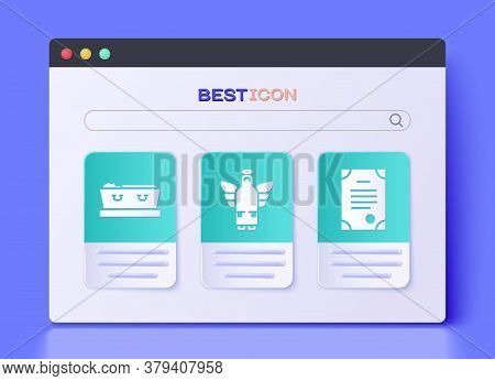 Set Christmas Angel, Coffin With Dead And Death Certificate Icon. Vector