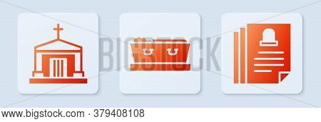 Set Coffin With Dead, Old Crypt And Death Certificate. White Square Button. Vector