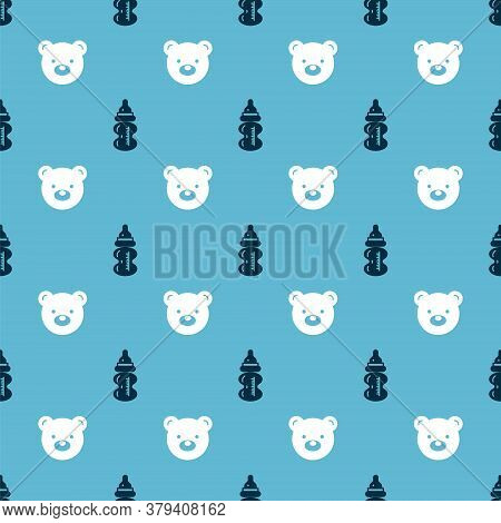 Set Baby Bottle And Teddy Bear Plush Toy On Seamless Pattern. Vector
