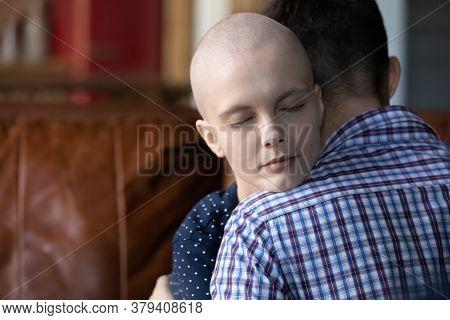 Loving Husband Hug Comport Sick Suffering Wife