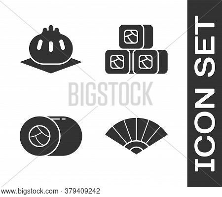 Set Paper Chinese Or Japanese Folding Fan, Khinkali On Cutting Board, Sushi And Sushi Icon. Vector