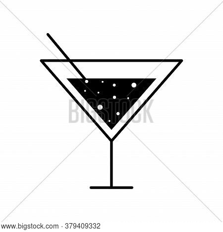 Martini Cocktail Glass Cup With Straw Silhouette Style Icon Design, Alcohol Drink Bar And Beverage T