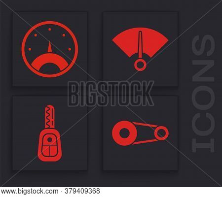 Set Timing Belt Kit, Speedometer, Speedometer And Car Key With Remote Icon. Vector