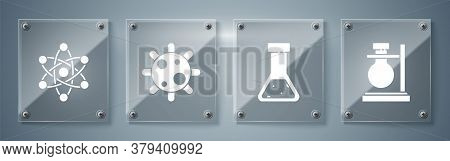 Set Test Tube Flask On Stand, Test Tube And Flask Chemical, Bacteria And Atom. Square Glass Panels.