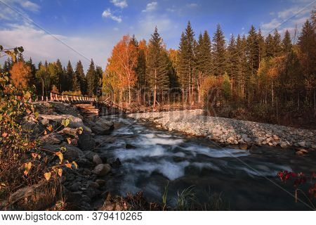 The Landscape With Small Siberian River , In Altai Mountains, In Autumn, Siberia, Altai Mountain Rep
