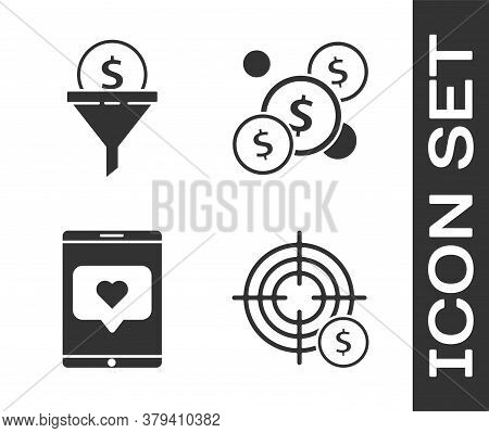 Set Target With Dollar Symbol, Lead Management, Mobile Phone And Like With Heart And Coin Money With