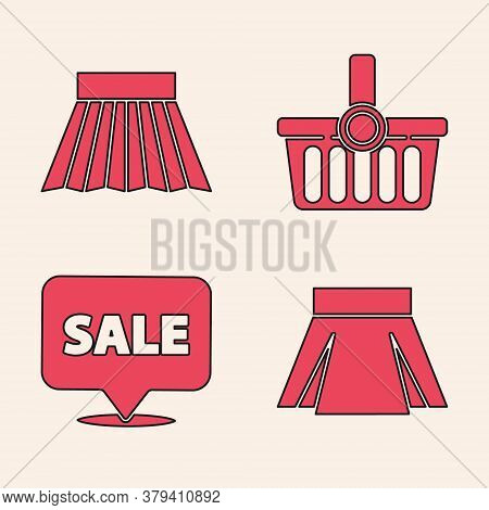Set Skirt, Skirt, Shopping Basket And Hanging Sign With Sale Icon. Vector