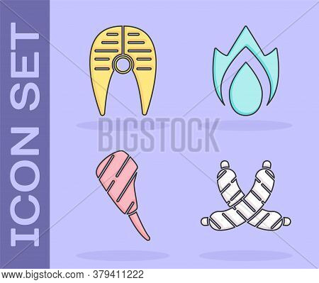 Set Crossed Sausage, Fish Steak, Rib Eye Steak And Fire Flame Icon. Vector