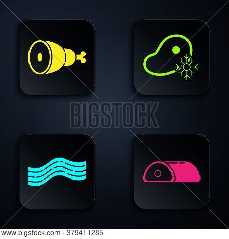 Set Meat, Chicken Leg, Bacon Stripe And Fresh Frozen Steak Meat. Black Square Button. Vector