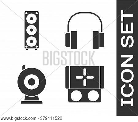 Set Portable Video Game Console, Stereo Speaker, Web Camera And Headphones Icon. Vector