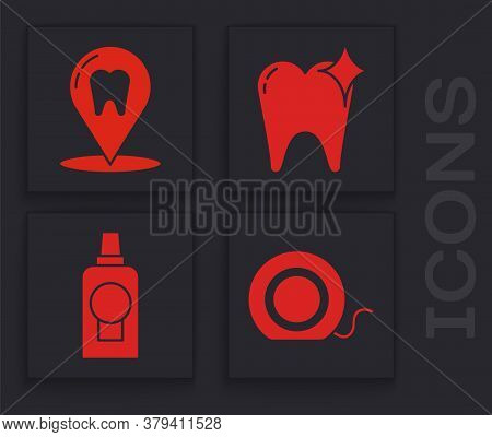 Set Dental Floss, Dental Clinic Location, Tooth Whitening Concept And Mouthwash Plastic Bottle Icon.