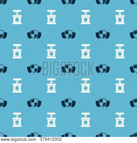Set Shield And Handle Detonator For Dynamite On Seamless Pattern. Vector