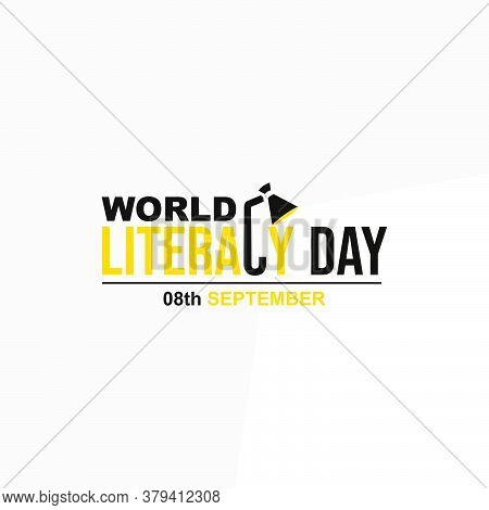 Typography Design Of World Literacy Day Vector Illustration With Study Lamp Concept.