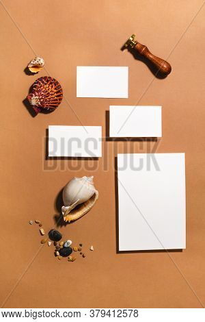 Empty Stationery Minimal Mockup Template. Paper, Business Card, Tropical Sea Decor, Sealing Wax Stam