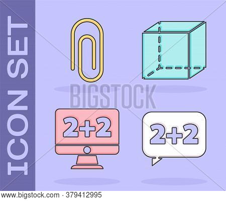 Set Equation Solution, Paper Clip, Equation Solution And Geometric Figure Cube Icon. Vector