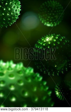 Green Algae Cells 3D Illustration
