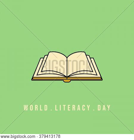 Open Book Vector Illustration. Good Template For World Literacy Day Design.