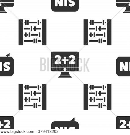 Set Mathematics Function Sine, Equation Solution And Abacus On Seamless Pattern. Vector
