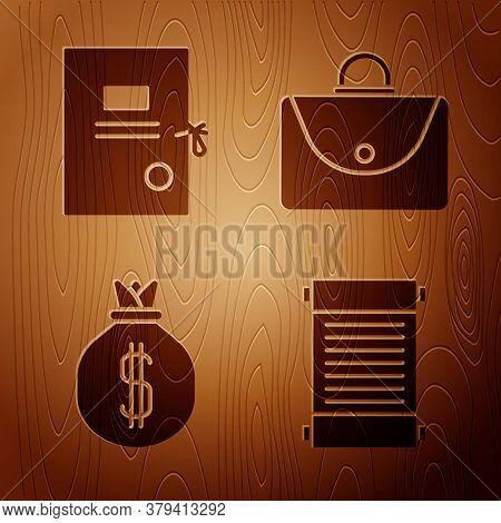 Set Decree, Paper, Parchment, Scroll, Lawsuit Paper, Money Bag And Briefcase On Wooden Background. V