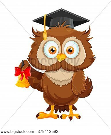 Cute Wise Owl Holding Little Bell. Funny Owl Cartoon Character, Back To School Concept. Vector Illus