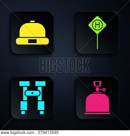 Set Camping Gas Stove, Beanie Hat, Binoculars And Parking. Black Square Button. Vector
