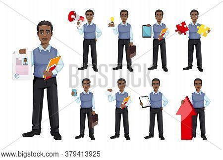 African American Business Man, Set Of Nine Poses. Cheerful Handsome Businessman Cartoon Character. V