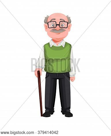 Happy Grandparents Day. Handsome Smiling Old Man. Cheerful Grandfather Cartoon Character. Vector Ill