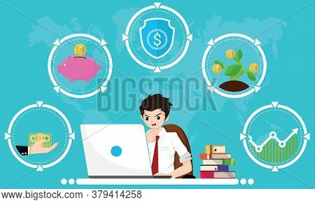 Financial Literacy Course For Adult Concept. Design By Business Man Use Laptop For Learning Of Cash