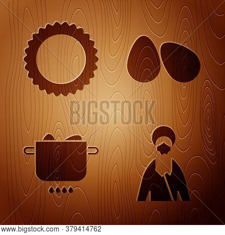 Set Jesus Christ, Sun, Egg In Hot Pot And Easter Eggs On Wooden Background. Vector