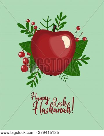 Autumn Postcard. Red Apple. Autumn Composition. Poster For The Jewish New Year. Inscription Happy Ro