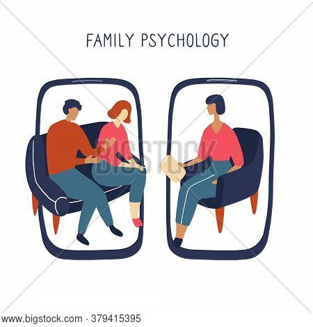 Family Psychologist. Online Counseling For Couple. Patients At Psychological Consultation. Flat Dood