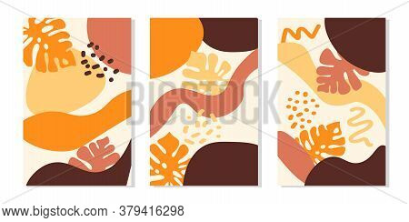 Abstract Contemporary Collage Set With Tropical Monstera Leaves And Simple Shapes. Modern Patchwork