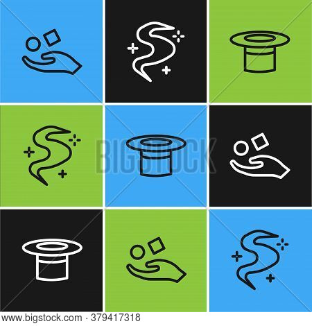 Set Line Cube Levitating Above Hand, Magician Hat And Fog Or Smoke Icon. Vector