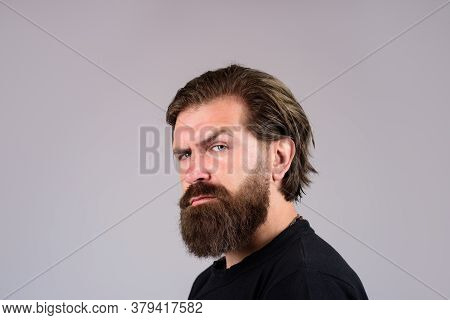 Stylish Hipster Brutal Man With Beard, Mustache, Beautiful Hairstyle.sexy Look Of Male Model Man. Be