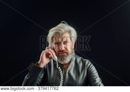 Bearded Man With Telephone Handset. Communication. Handsome Man Talking At Retro Handset. Bearded Ma