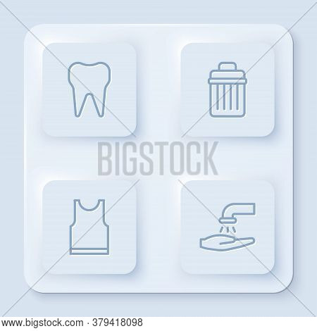 Set Line Tooth, Trash Can, Sleeveless T-shirt And Washing Hands With Soap. White Square Button. Vect