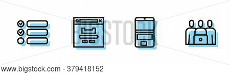 Set Line Laptop, Task List, Browser Window And Online Class Icon. Vector
