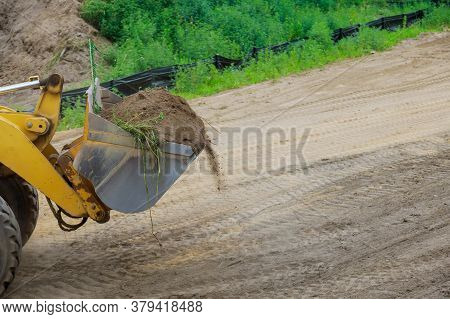 Construction Works Excavator Moving Earth, Earthworks House Construction