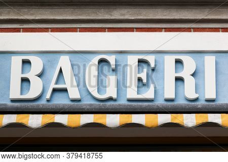 Bakery Sign Called Bageri In Danish Language, Denmark