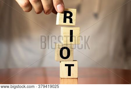 Riot Word Made With Building Blocks Isolated On White