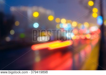 Night City Street Lights Abstract Background Of Blurred Warm Lights With Cool Blue And Purple Backgr