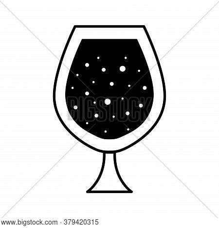 Cognac Glass Cup Silhouette Style Icon Design, Alcohol Drink Bar And Beverage Theme Vector Illustrat