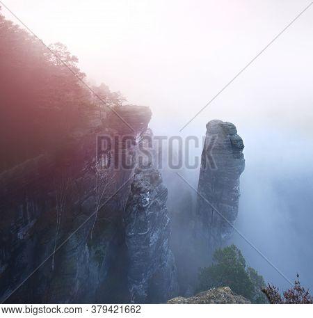 Sharp Sandstone Cliffs Of Saxony Switzerland Close Bastei Bridge. Summer Scene Rocky Mountains, Germ