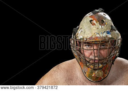Defender. Portrait Of A Brutal Man In A Protective Mask. The Concept Of Defense And Protector. Close