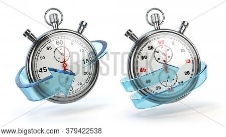 Stopwatch with blue arrow isolated on white. Fast express delivery concept. 3d illustration