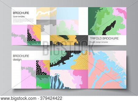 Vector Layout Of Square Covers Design Templates For Trifold Brochure, Flyer, Cover Design, Book Desi