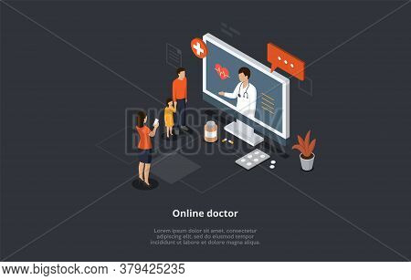 Health Care Isometric Concept, Online Doctor And Medical Consultation. Family At Doctor S Appointmen