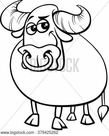 Black And White Cartoon Illustration Of Funny Bull Farm Animal Comic Character Coloring Book Page